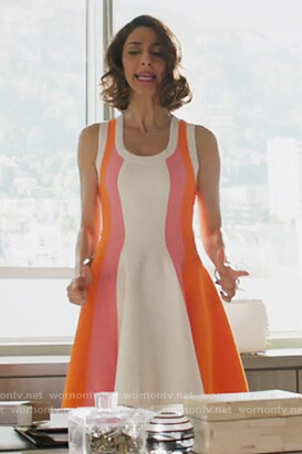 Delia's colorblock fit and flare dress on Girlfriends Guide to Divorce