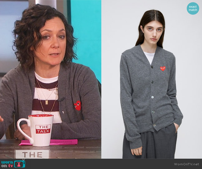 Red Heart V-Neck Cardigan by Comme Des Garcons Play worn by Sara Gilbert on The Talk