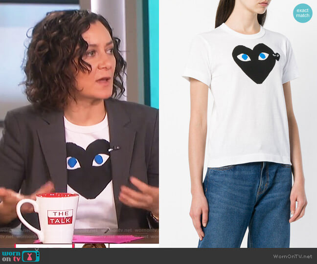 Heart Eyes T-Shirt by Comme Des Garcons PLAY worn by Sara Gilbert  on The Talk