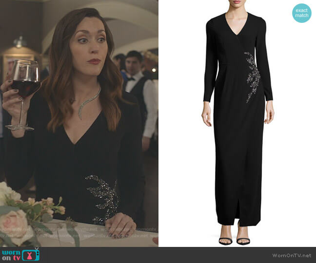 Long-Sleeve Embellished Faux-Wrap Gown by David Meister worn by Abigail Pershing (Sarah Power) on Good Witch