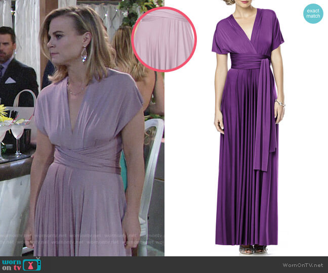 Dessy Collection Convertible Wrap Tie Surplice Jersey Gown in Suede Rose worn by Phyllis Newman (Gina Tognoni) on The Young & the Restless