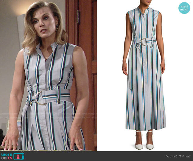 Diane von Furstenberg Striped Sleeveless Belted Maxi Dress worn by Phyllis Newman (Gina Tognoni) on The Young & the Restless