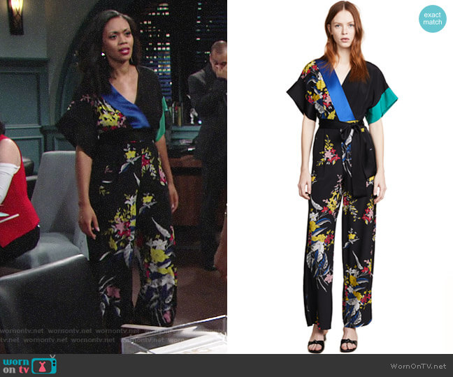Diane von Furstenberg Short Sleeve Jumpsuit worn by Mishael Morgan on The Young & the Restless