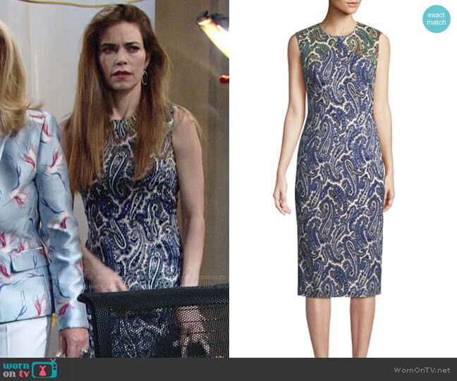 Diane von Furstneberg Paisley Sheath Dress worn by Victoria Newman (Amelia Heinle) on The Young & the Restless