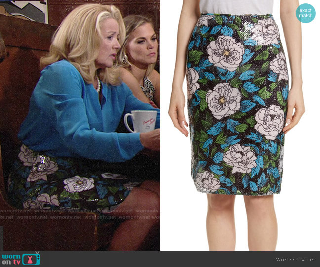 Diane von Furstenberg Floral Sequin Skirt worn by Nikki Reed Newman (Melody Thomas-Scott) on The Young & the Restless