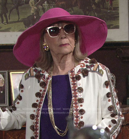 Dina's embroidered pom-pom jacket on The Young and the Restless