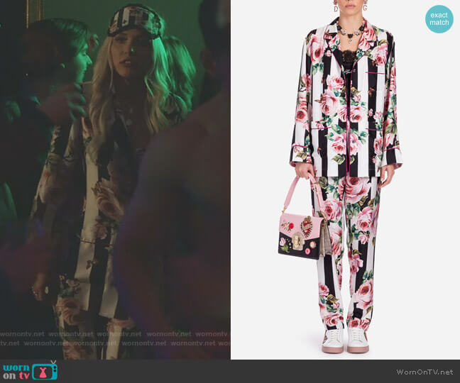 Printed Silk Pyjama Shirt and Pants by Dolce & Gabbana worn by Maddie Jaymes (Lennon Stella) on Nashville
