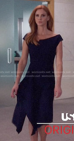 Donna's navy off-shoulder dress on Suits