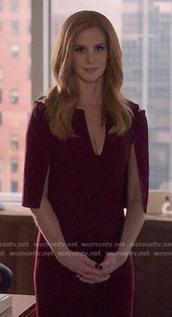 Donna's burgundy cape sleeve dress on Suits