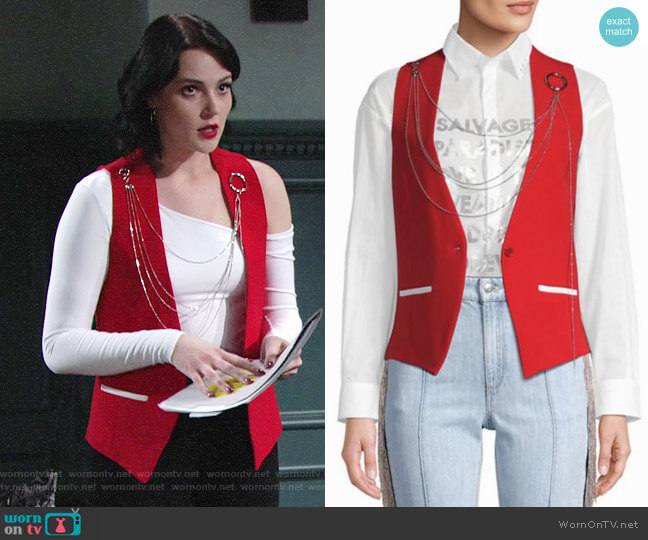 Each x Other Chain Button-Front Vest worn by Tessa Porter (Cait Fairbanks) on The Young & the Restless