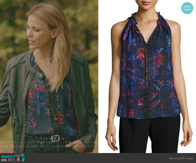 Bessie Sleeveless Floral-Print Blouse by Elie Tahari worn by Riley Voelkel on The Originals
