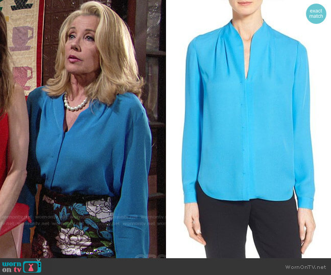 Elie Tahari Judith Blouse worn by Nikki Reed Newman (Melody Thomas-Scott) on The Young & the Restless