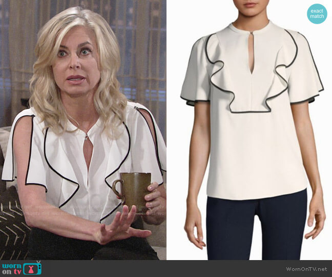 Elie Tahari Murrelet Blouse worn by Ashley Abbott (Eileen Davidson) on The Young & the Restless