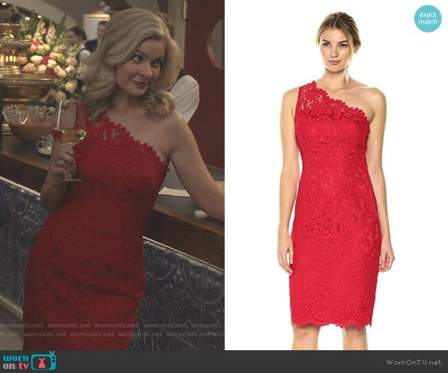 One Shoulder Lace Sheath by Eliza J worn by Stephanie Borden (Kylee Evans) on Good Witch