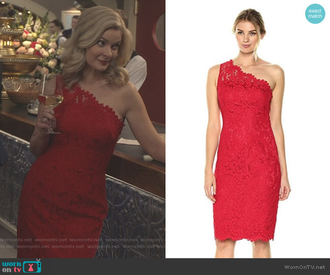 One Shoulder Lace Sheath by Eliza J worn by Kylee Evans on Good Witch