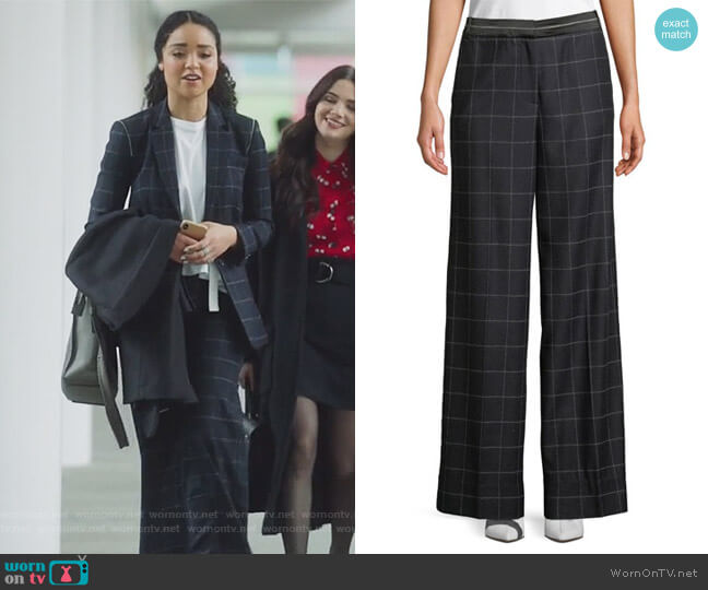 Hansel Windowpane Wide-Leg Trouser by Elizabeth and James worn by Aisha Dee on The Bold Type