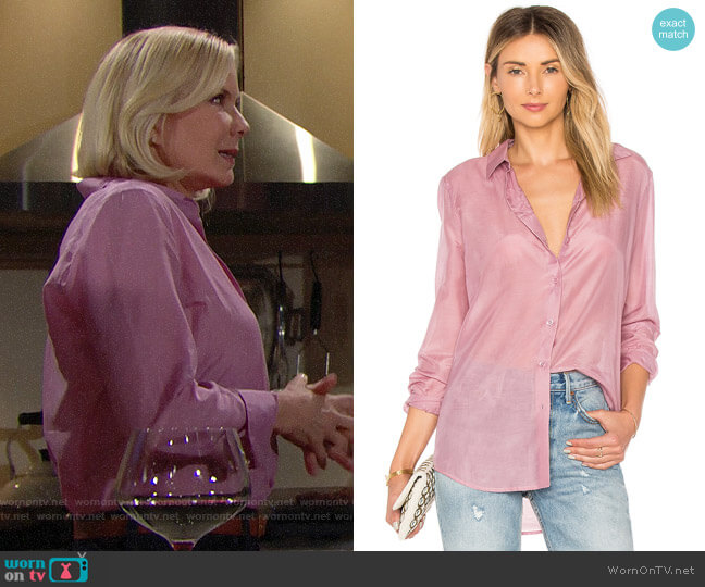 Equipment Orchid Smoke Essential Shirt worn by Brooke Logan (Katherine Kelly Lang) on The Bold & the Beautiful