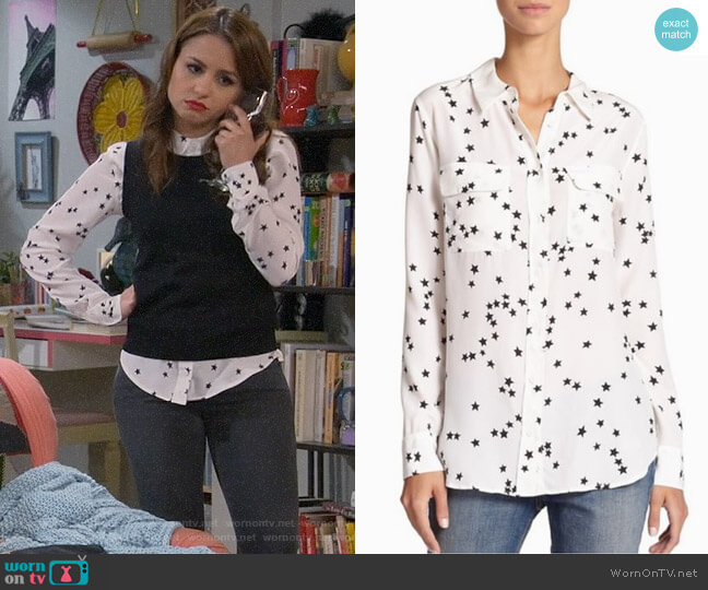 Equipment Starry Night Silk Shirt worn by Aimee Carrero on Young & Hungry