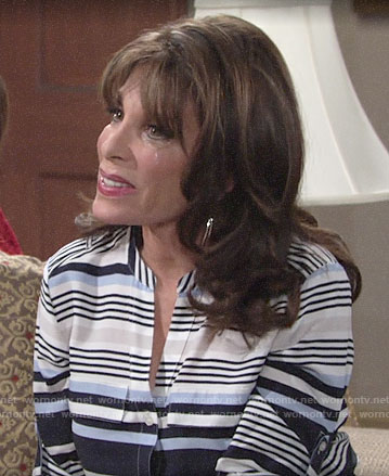 Esther's blue striped top on The Young and the Restless