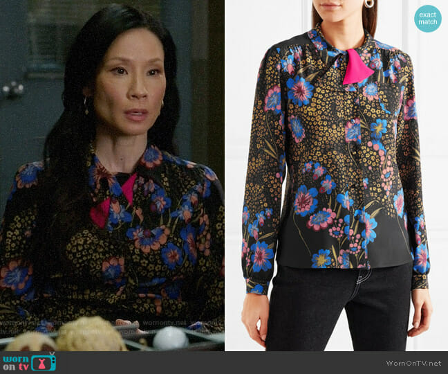 Etro Floral-print silk-crepe blouse worn by Joan Watson (Lucy Liu) on Elementary
