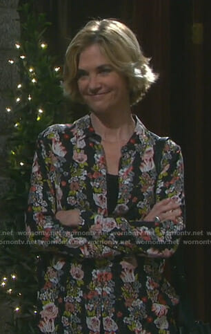 Eve's black floral shirt on Days of our Lives