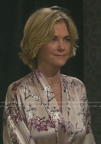 Eve's beige floral robe on Days of our Lives