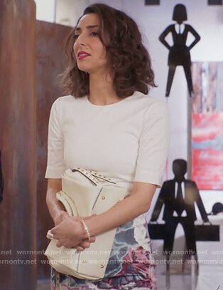 Delia's white floral pencil dress on Girlfriends Guide to Divorce