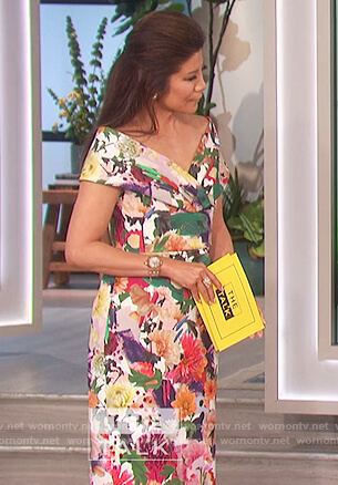 Julie's floral print off shoulder dress on The Talk