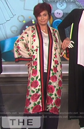 Sharon's white floral print cardigan on The Talk