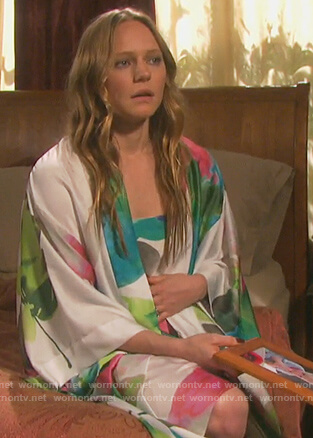 Abigail's white floral robe and chemise on Days of our Lives