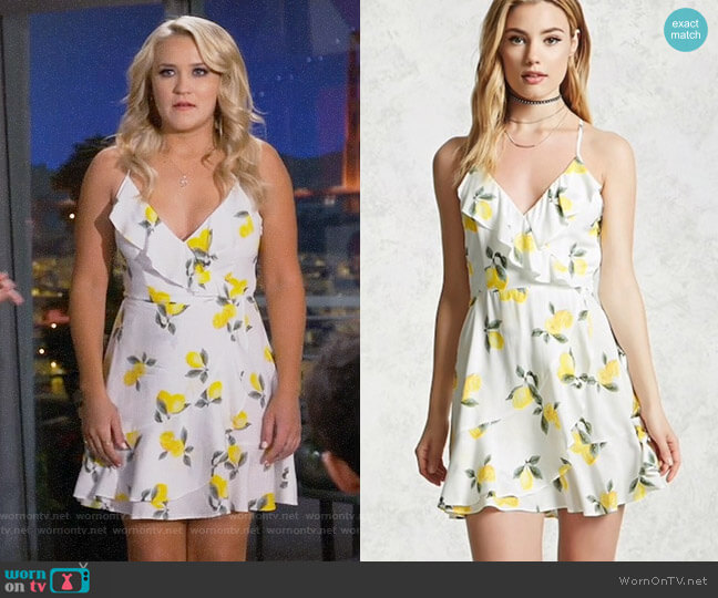 Forever 21 Lemon Print Wrap Dress worn by Gabi Diamond (Emily Osment) on Young & Hungry