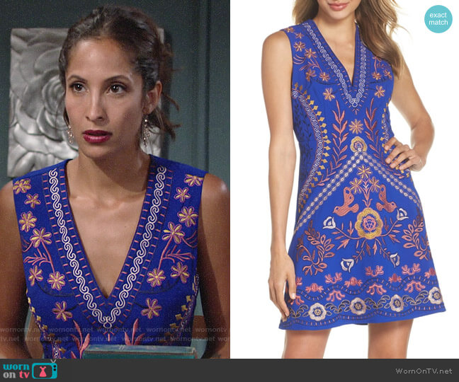 Foxiedox Artemesia Cutout Back Minidress worn by Christel Khalil on The Young & the Restless
