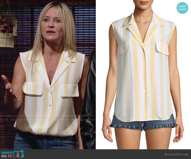 Frame True Striped Sleeveless Silk Shirt worn by Sharon Case on The Young & the Restless