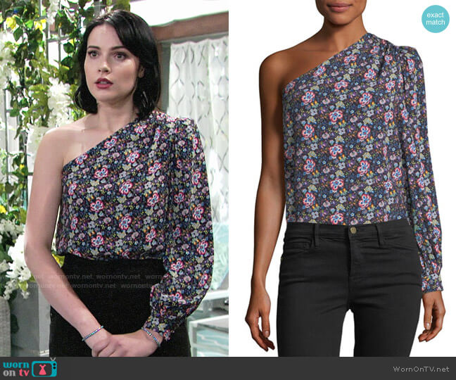 Frame One Shoulder Floral Print Top worn by Cait Fairbanks on The Young & the Restless