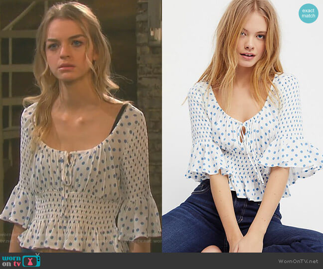 A Bit Of Something Sweet Top by Free People worn by Claire Brady (Olivia Keegan) on Days of our Lives