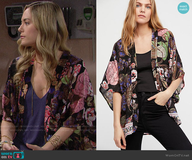 Free People Enchanted Blooms Kimono worn by Hope Logan (Annika Noelle) on The Bold & the Beautiful