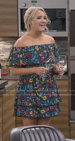 Gabi's floral off-shoulder dress on Young and Hungry