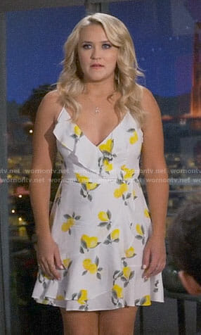 Gabi's lemon print dress on Young and Hungry