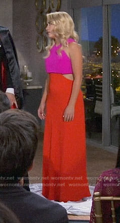 Gabi's pink and red gown with cutouts on Young and Hungry