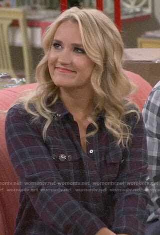 Gabi's plaid shirt with embellished pockets on Young and Hungry
