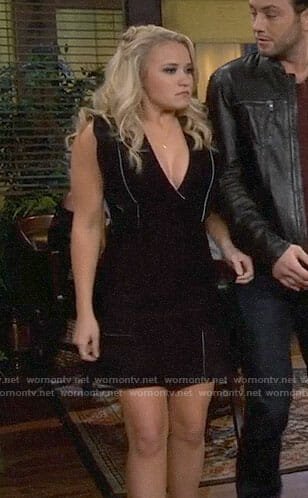 Gabi's black ruffle sleeve dress on Young and Hungry