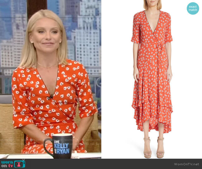 Silvery Crepe Wrap Dress by Ganni worn by Kelly Ripa (Kelly Ripa) on Live with Kelly & Ryan