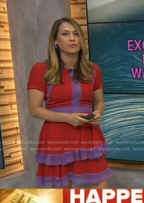 Ginger's red and purple tiered dress on Good Morning America