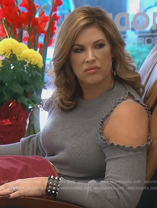 Emily's gray gold shoulder sweater on The Real Housewives of Orange County