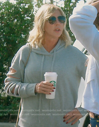 Vicki's gray slit sleeve sweatshirt on The Real Housewives of Orange County