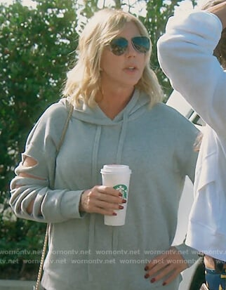 Emily's black zip front top on The Real Housewives of Orange County