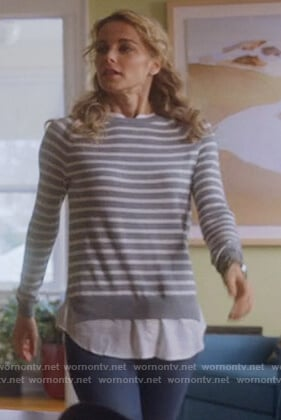 Lizzie's gray striped layered sweater on Instinct
