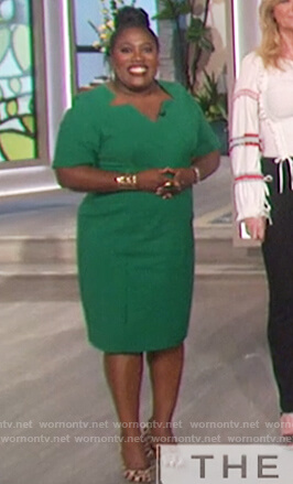 Sheryl's green cutout neckline dress on The Talk