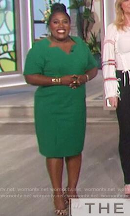 Sheryl's green cutout neckline dress on The Talk