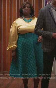 Barbara's yellow satin blouse and green print skirt on Girlfriends Guide to Divorce